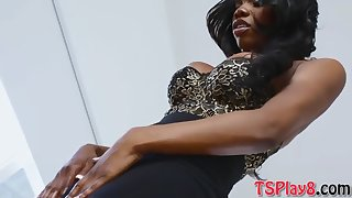 kinky ebony shemale masturbates her big hard shaft