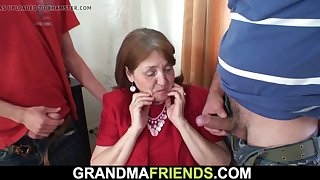 big tits office granny takes double penetration