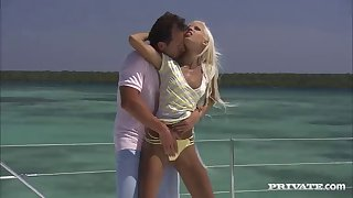 stunning blonde bikini babe fucked on the yacht