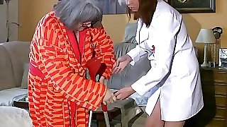 BBW chubby Nurse masturbate with elderly Grandmother